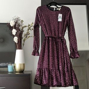 Michael kors purple velvet dress